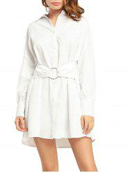 Button Up Boyfriend Long Sleeve Shirt Dress -