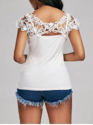 Lace Trim Cap Sleeve Cutwork T-shirt - WHITE