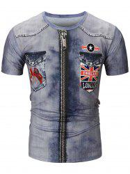 Short Sleeve 3D Zipper England Patriotic Print T-shirt