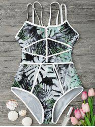 Tropical Print Piping One Piece Swimsuit -
