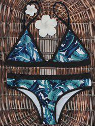 High-Cut Palm Leaf Print Bikini Set