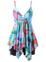 Butterfly Print Plus Size Handkerchief Tankini Set - LIGHT BLUE