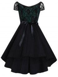 High Low Lace Panel Vintage Dress