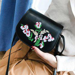 Flower Embroidery Saddle Bag - BLACK