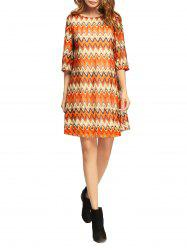 Wave Stripe Print Shift Dress