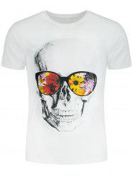Short Sleeve Flowers and Skull Printed T-shirt - WHITE