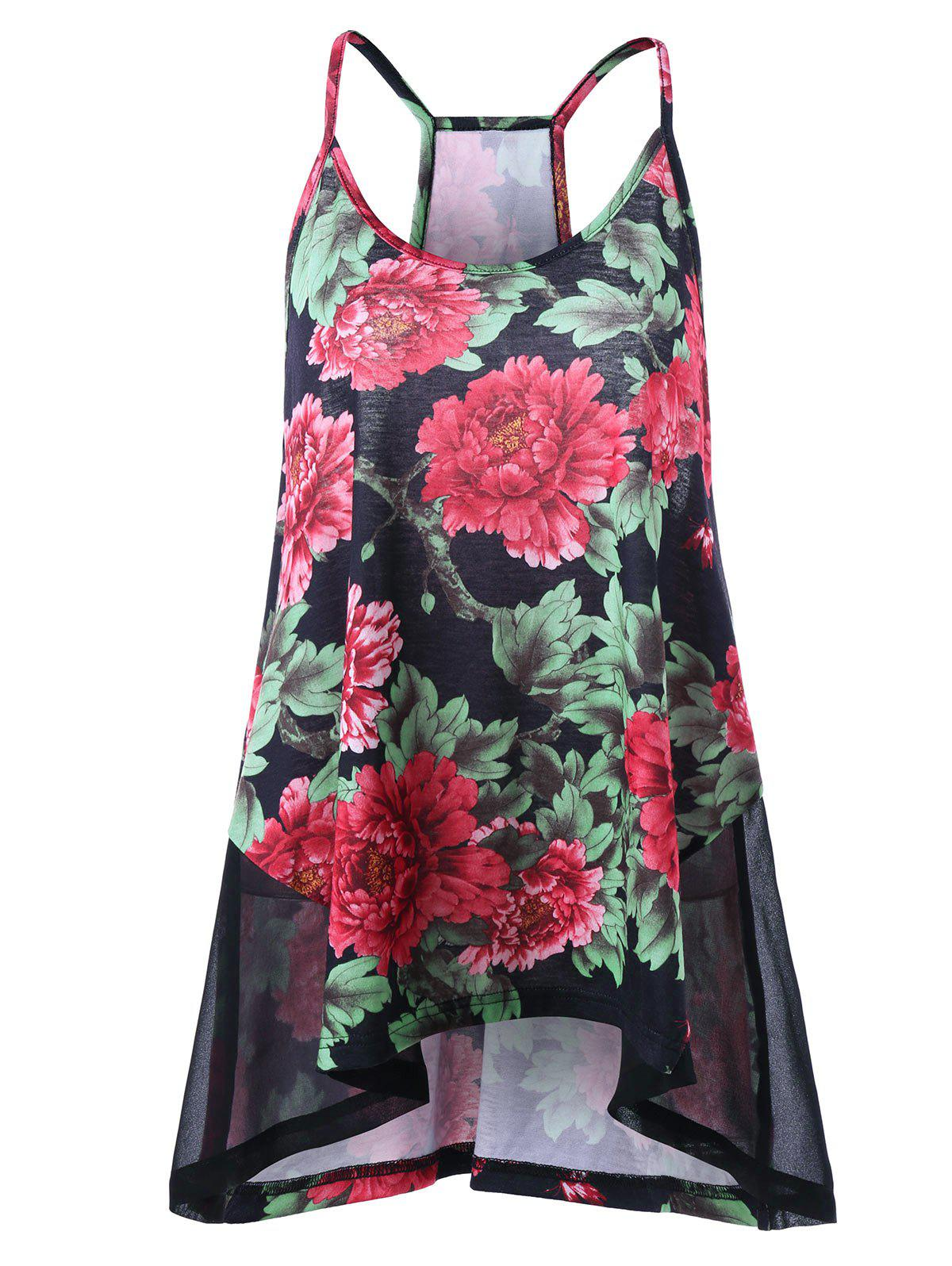 Mesh Insert Plus Size Floral Print CamisoleWOMEN<br><br>Size: 5XL; Color: COLORMIX; Material: Polyester; Shirt Length: Long; Sleeve Length: Sleeveless; Collar: Round Neck; Style: Fashion; Season: Spring,Summer; Pattern Type: Floral; Weight: 0.1980kg; Package Contents: 1 x Camisole;
