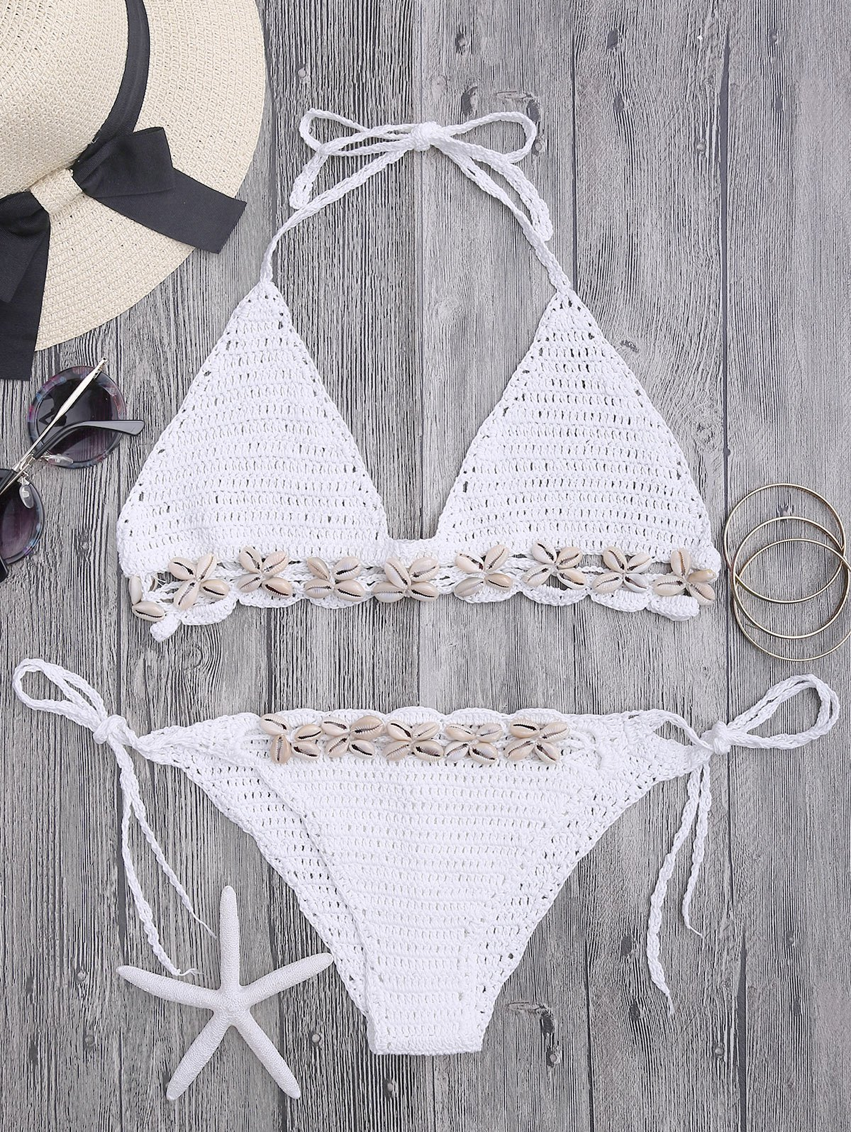 Sale Seashell Trim Crochet Bikini Set