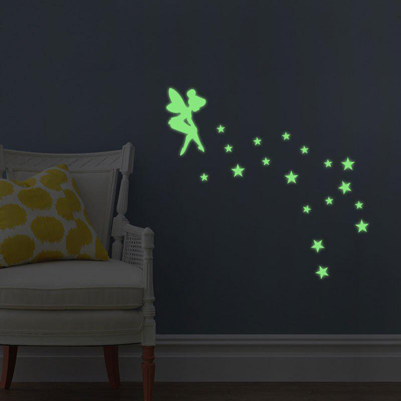 Creative Fluorescence Star Fairy Luminous Switch Wall StickHOME<br><br>Color: NEON GREEN; Wall Sticker Type: Plane Wall Stickers; Functions: Light Switch Stickers; Theme: Cartoon,Fairytale Theme; Material: PVC; Feature: Washable; Weight: 0.0320kg; Package Contents: 1 x Wall Sticker;