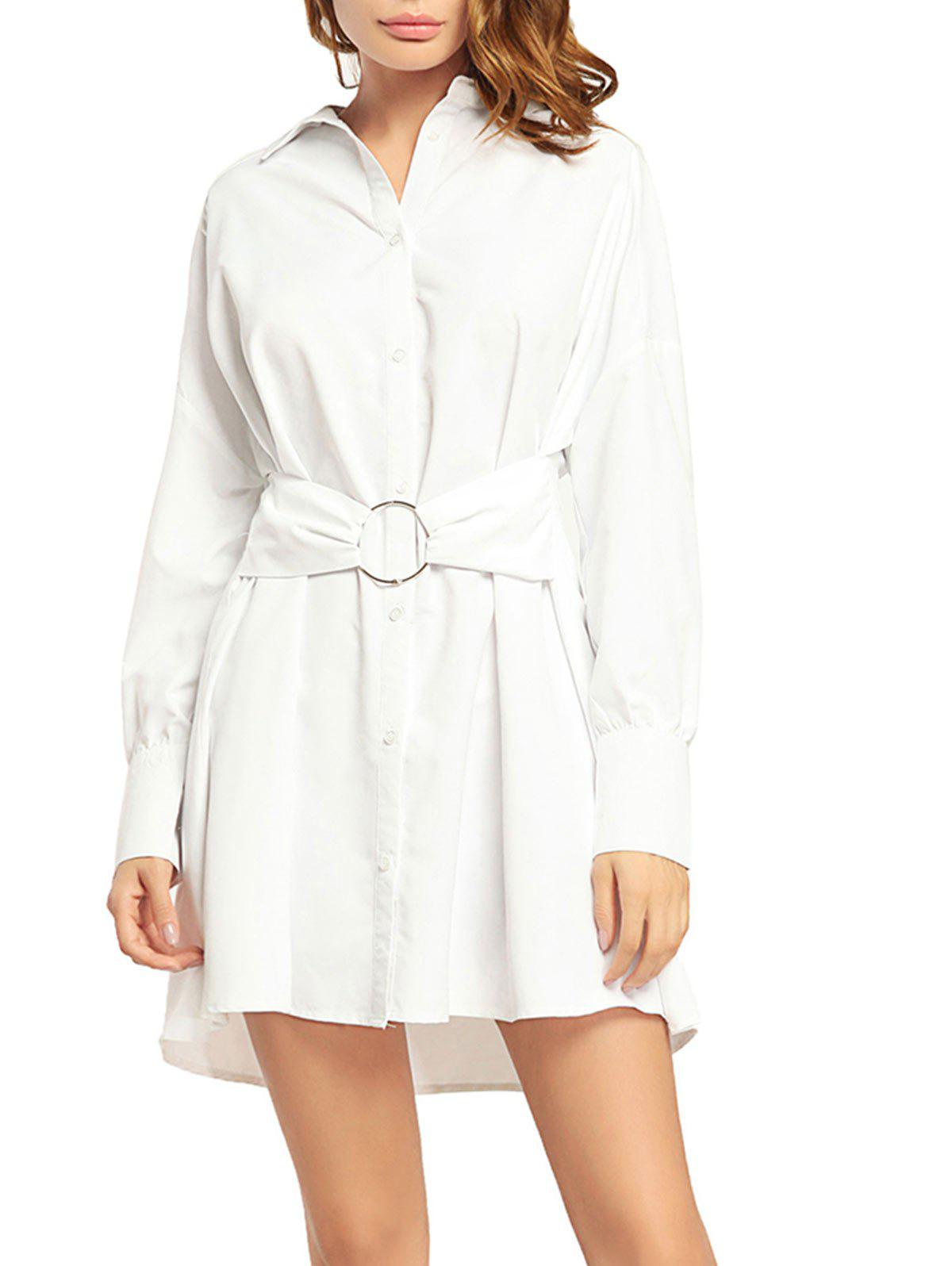Cheap Button Up Boyfriend Long Sleeve Shirt Dress