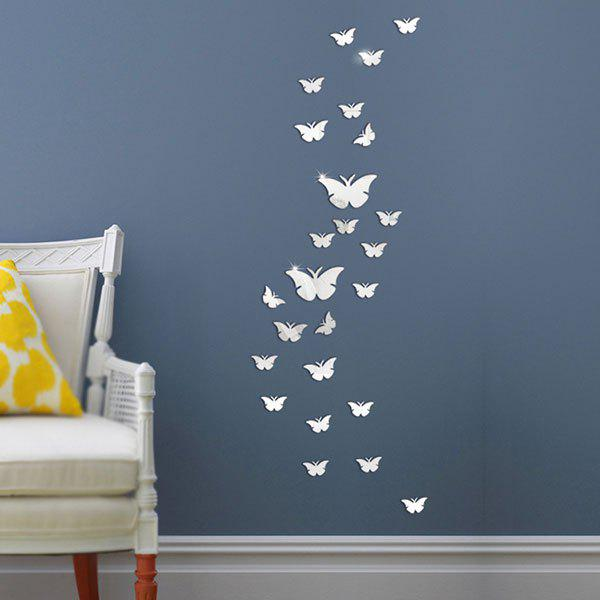 25 PCS Butterflies Removable Mirror Wall StickersHOME<br><br>Color: SILVER; Wall Sticker Type: Mirror Wall Stickers; Functions: Decorative Wall Stickers; Theme: Animals; Material: Plastic; Feature: Removable,Washable; Weight: 0.0800kg; Package Contents: 1 x Wall Sticker (Set);