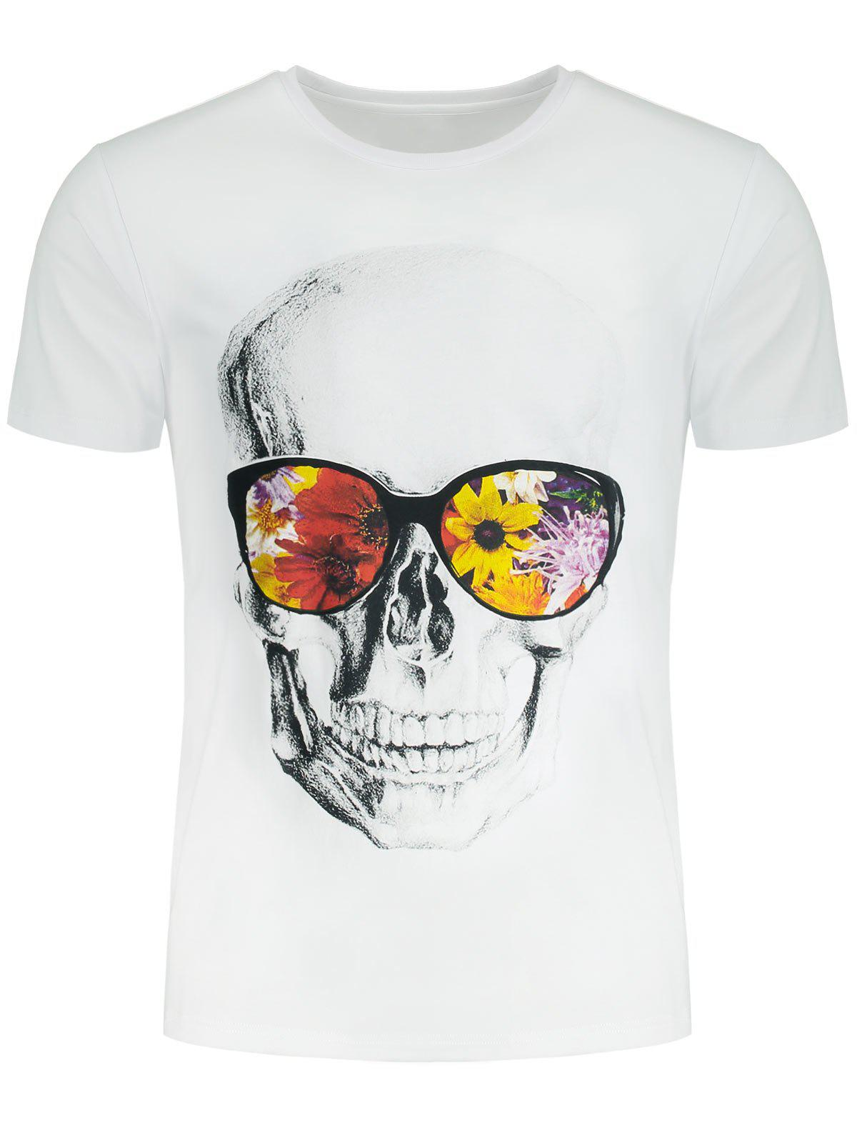 Affordable Short Sleeve Flowers and Skull Printed T-shirt