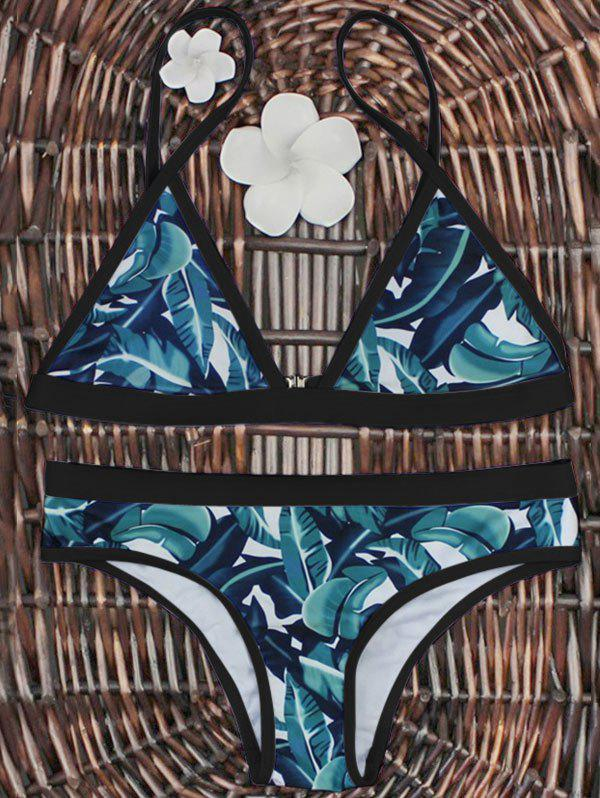 High-Cut Palm Leaf Print Bikini SetWOMEN<br><br>Size: M; Color: BLACK AND GREEN; Swimwear Type: Bikini; Gender: For Women; Material: Polyester; Bra Style: Padded; Support Type: Wire Free; Neckline: Halter; Pattern Type: Plant; Waist: Low Waisted; Elasticity: Elastic; Weight: 0.2700kg; Package Contents: 1 x Bra  1 x Briefs;