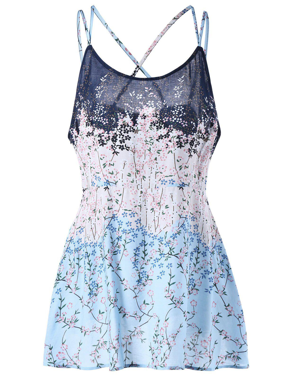 Discount Plus Size Floral Print Lattice Camisole