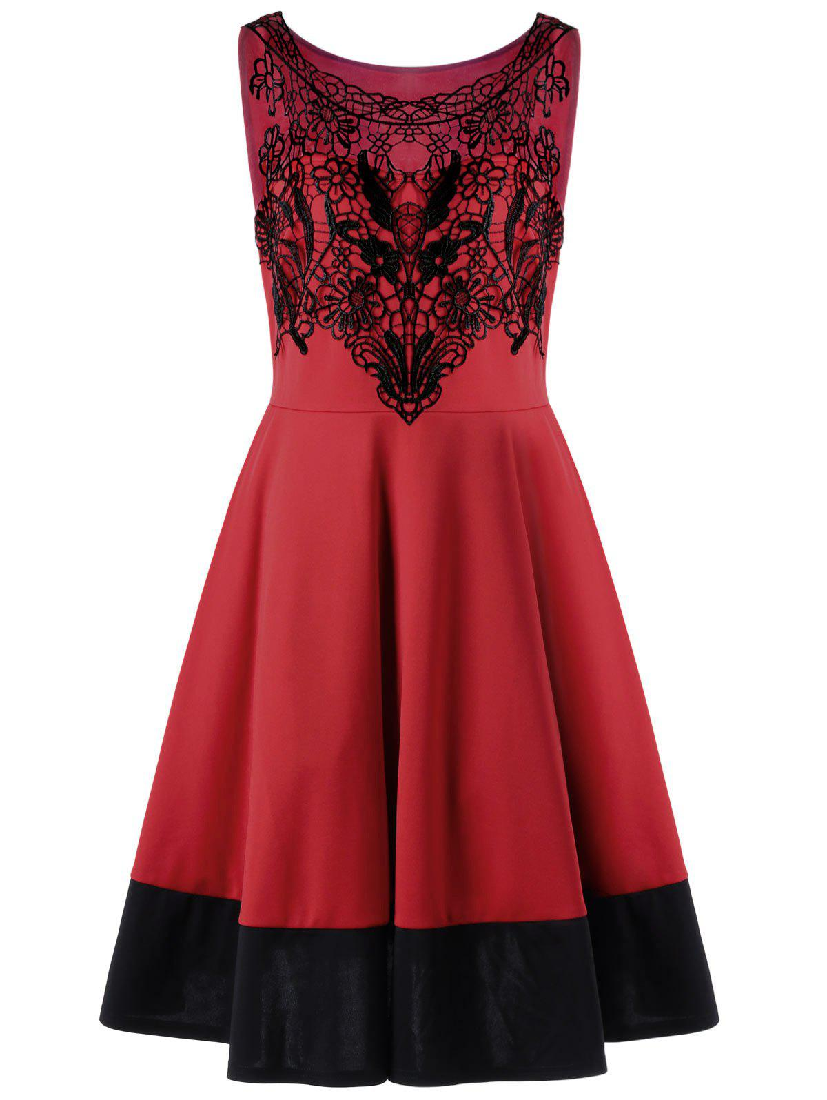 Crochet Panel Plus Size Flare Cocktail DressWOMEN<br><br>Size: 2XL; Color: RED; Style: Cute; Material: Polyester; Silhouette: A-Line; Dresses Length: Knee-Length; Neckline: Round Collar; Sleeve Length: Sleeveless; Pattern Type: Floral; With Belt: No; Season: Spring,Summer; Weight: 0.4040kg; Package Contents: 1 x Dress;