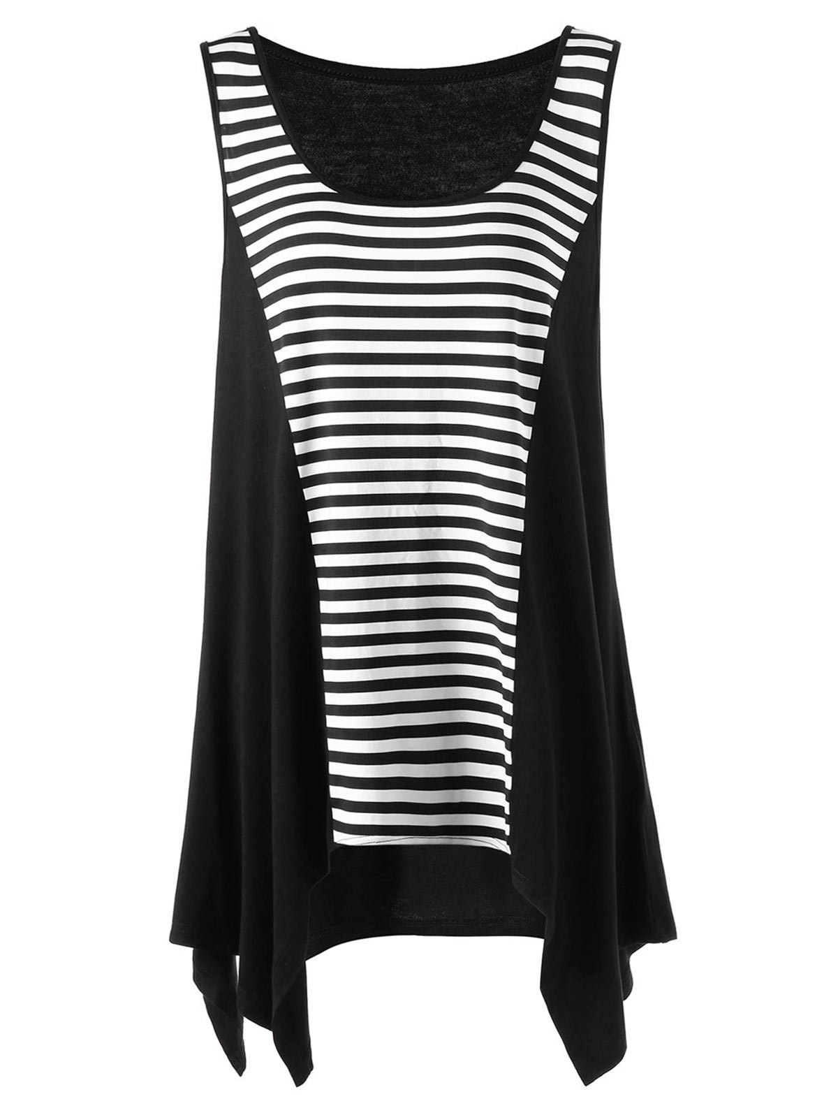 Chic Plus Size Striped Tunic Asymmetric Top