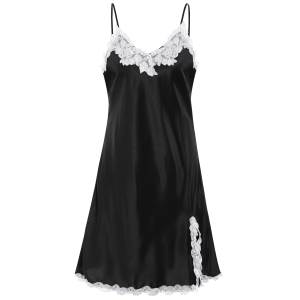 Lace Panel Slip Satin Short Sleep Dress - BLACK M
