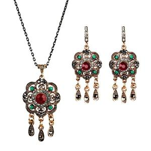 Teardrop Flower Chandelier Necklace and Earrings