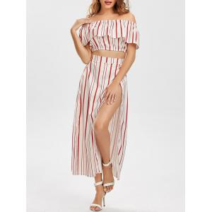 Off The Shoulder Striped Three Piece Dress - Red - Xl