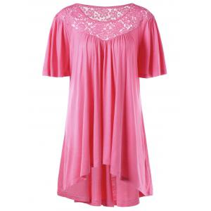Plus Size Lace Panel High Low Hem T-shirt