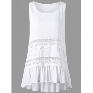Sleeveless Openwork Insert High Low Hem Blouse