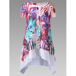 Floral Single Breasted Layered Blouse - Colormix - 2xl