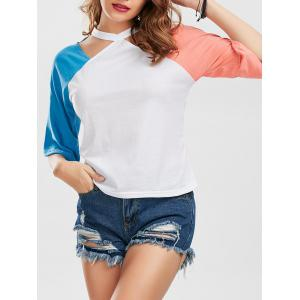 Color Block Raglan Sleeve Cut Out Tee
