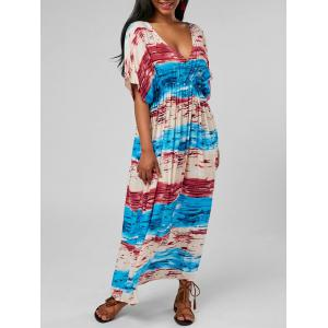 Striped Plunging Neck Tee Shirt Maxi Dress - Colormix - One Size