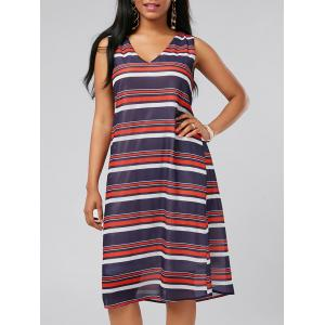 V Neck Sleeveless Casual Stripe Dress