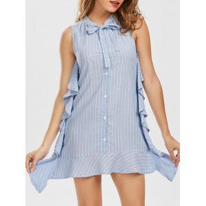 Striped Bow Collar Flounce Mini Dress