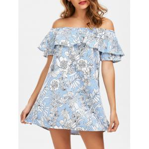 Off The Shoulder Floral Print Striped Dress - Light Blue - L
