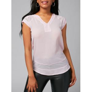V Neck Mesh Insert Blouse - Pink - Xl