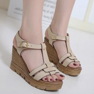 Wedge Heel T Bar Sandals - Apricot - 37