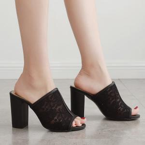 Block Heel Lace Slippers