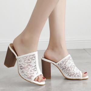 Block Heel Lace Slippers - White - 38