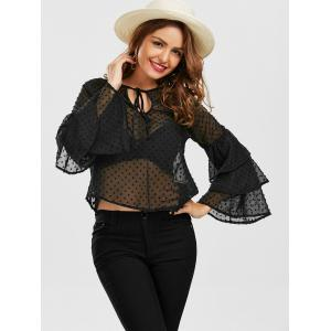 Layered Bell Sleeve Polka Dot Sheer Blouse - BLACK S