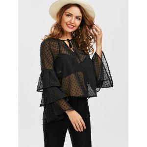 Layered Bell Sleeve Polka Dot Sheer Blouse - BLACK XL