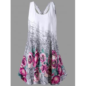 Floral U Neck Open Back Tank Top