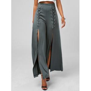 High Slit Lace Up Wide Leg Pants - Deep Gray - Xl