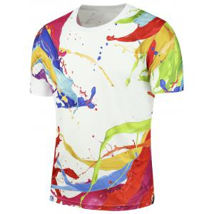 Short Sleeves 3D Splashed Paint Tee