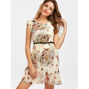Butterfly Print Belted Dress - YELLOW XL