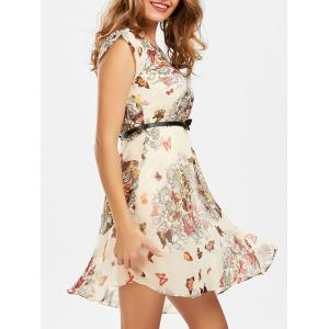 Butterfly Print Belted Dress