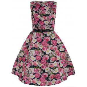 Sleeveless Fit and Flare Floral Dress with Belt - Blue And Pink - M