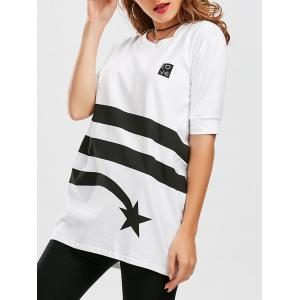Star Striped Print Tunic T Shirt - White - S