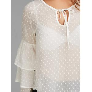 Layered Bell Sleeve Polka Dot Sheer Blouse - WHITE S