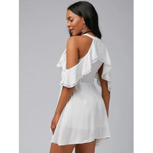 V Neck Ruffle Cold Shoulder Chiffon Mini Dress - Blanc XL