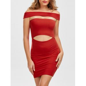 Cut Out Off Shoulder Mini Fitted Tight Dress