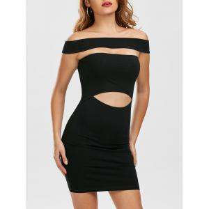 Cut Out Off Shoulder Mini Fitted Tight Dress - Black - L