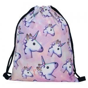 Drawstring Unicorn Print Backpack - Colormix - 39