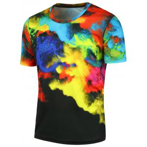 Short Sleeves 3D Tie Dyed Tee - Black - L